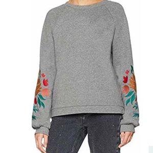 ASOS Ichi Embroidered Sleeve Crewneck Sweatshirt